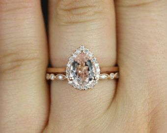 Julie & Ultra Petite Bead Eye 14kt Rose Gold Pear Morganite  and Diamonds Halo Wedding Set (Other metals and stone options available)