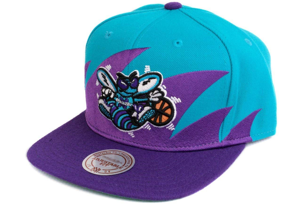 f017574fcae Mitchell   Ness Charlotte Hornets Shark Tooth Vintage Snap Back Hat ...