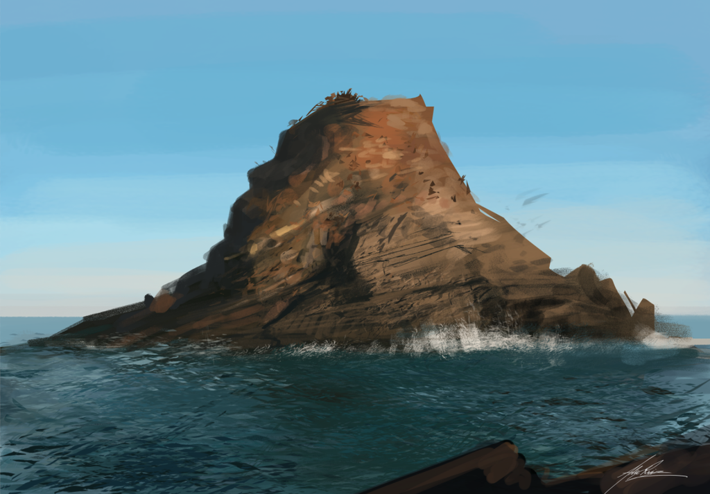 Ocean Rock Speedpainting by AlexRuizArt on deviantART