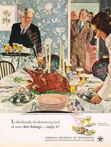 Vintage 1950 United States Brewer's Foundation Thanksgiving Ad | CeLestialCameo-VintageAds - Ephemera on ArtFire