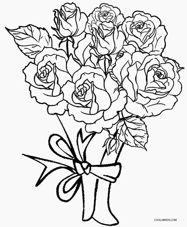 Printable Rose Coloring Pages For Kids Cool2bkids Printable Flower Coloring Pages Flower Coloring Pages Coloring Books