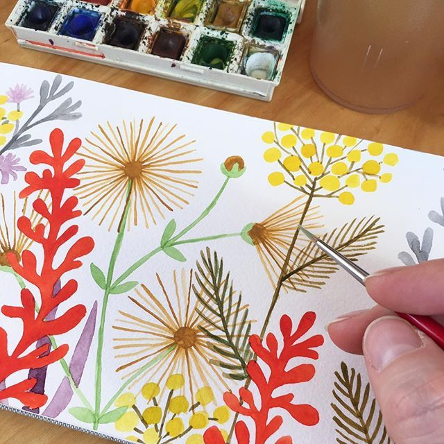 Happy Sunday! #watercolor #painting at #sunstreetbreads in my #handbook ! Just #makingitup #floral