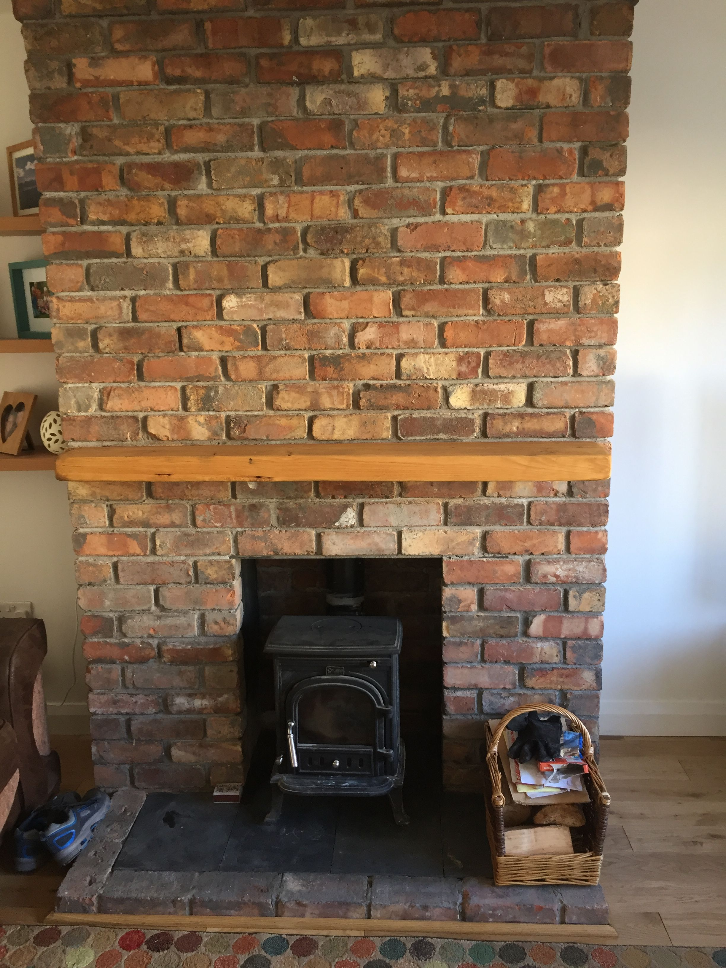 wood burning stove with oak mantle belfast brick fireplace rh pinterest com