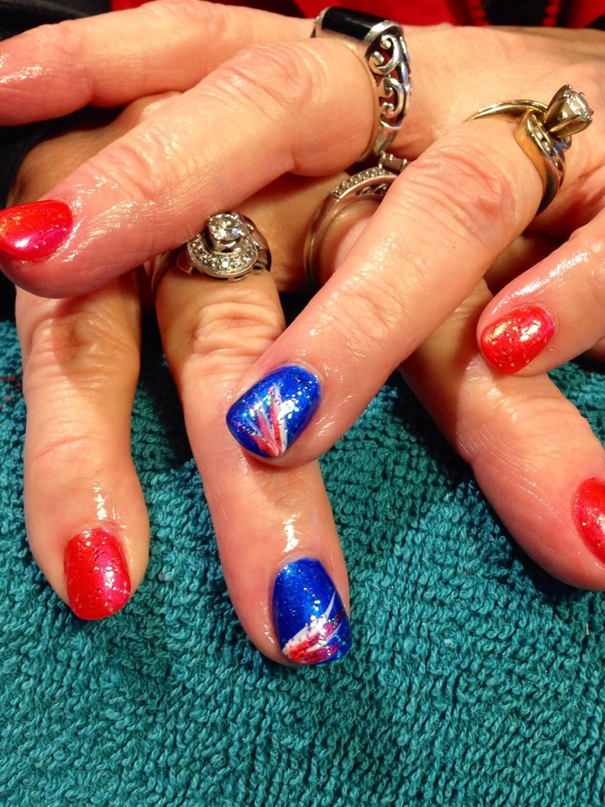Bronco Nails #shellac #orange #blue   Nails by Sinda Rodriguez ...