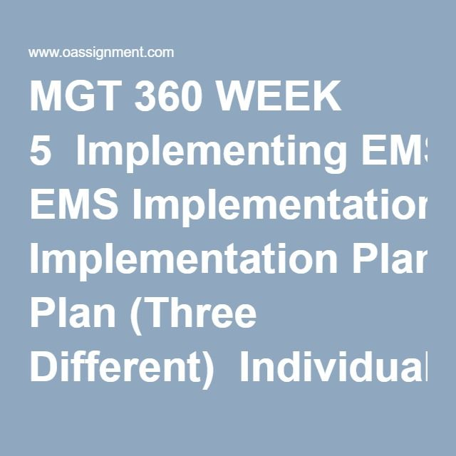 Mgt  Week  Implementing Ems Implementation Plan Three
