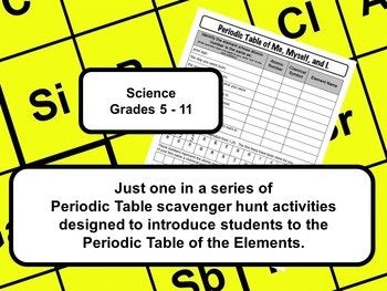All About Me Periodic Table Scavenger Hunt 8th Grade Science Pinterest Activities And Students