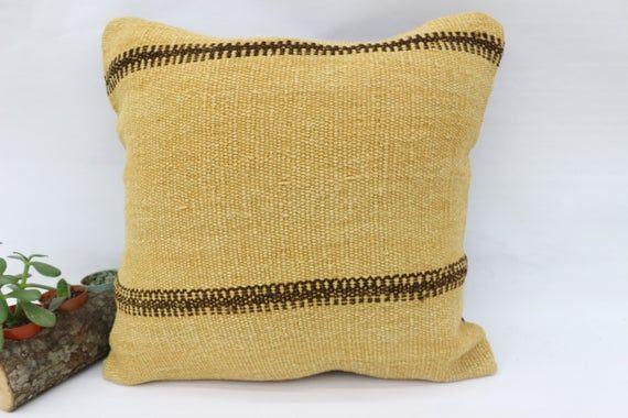 Traditional Kilim Pillow, 18x18 Nomadic Pillow,Pillow Covers,Yellow Pillow,Hemp Pillow,Flat Pillow,B