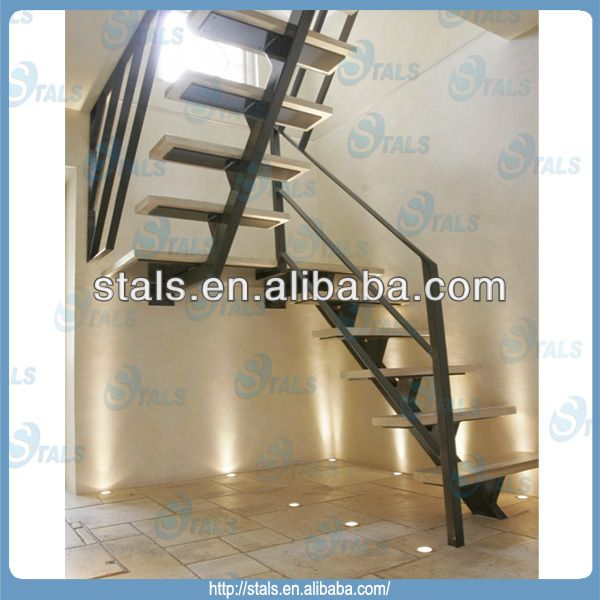 Small Homearchitecture: Wood Tread Carbon Steel Handrail U-shape Staircase