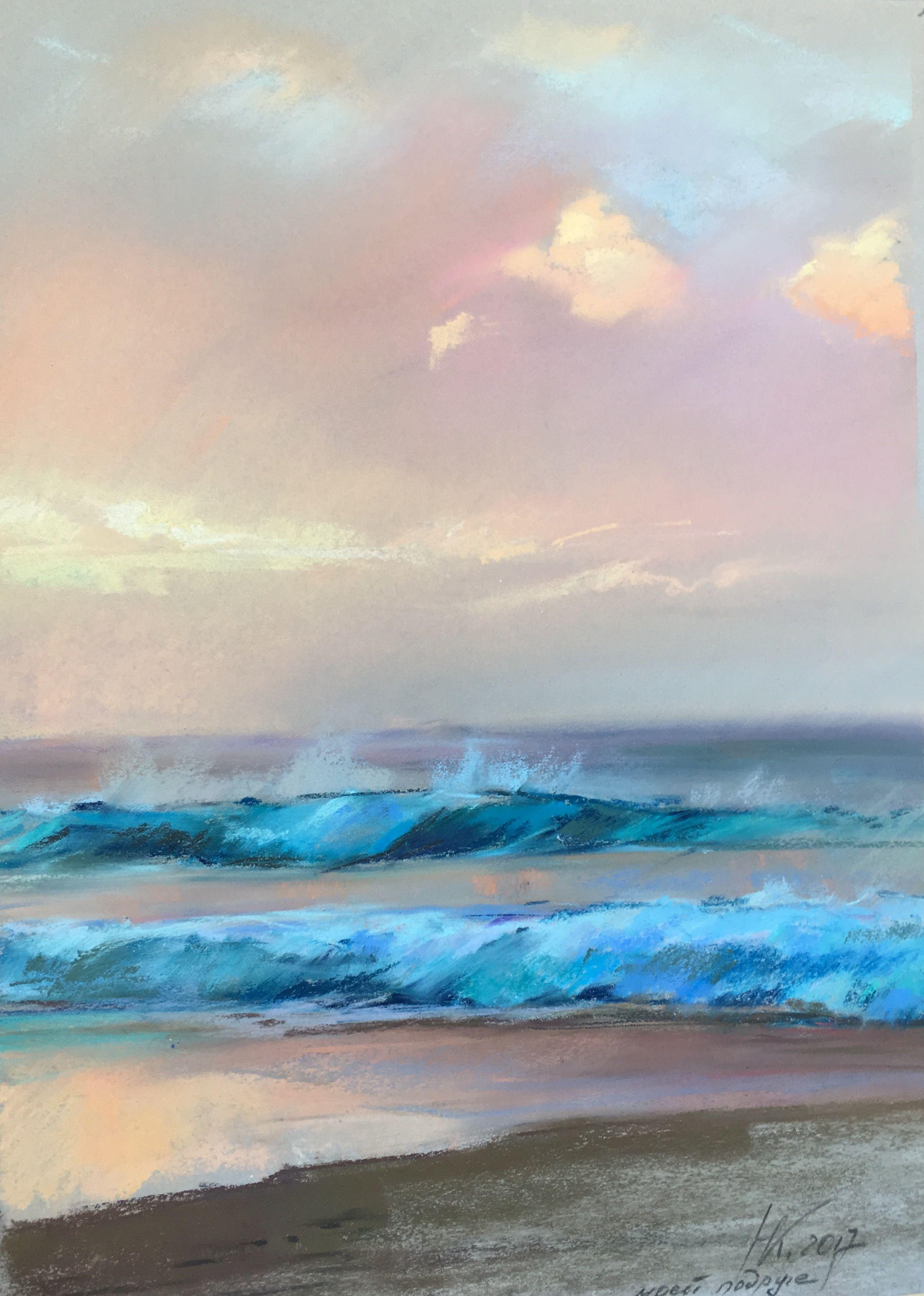 Waves At Sunset Pastel Landscape Ocean Painting Pastel Art