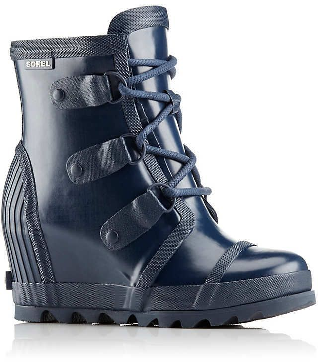 Sorel Joan Rain Wedge Gloss Boot(Women's) -Nori/Zest Rubber Cheap Low Price Fee Shipping Fashion Style WpiWrxCYTH