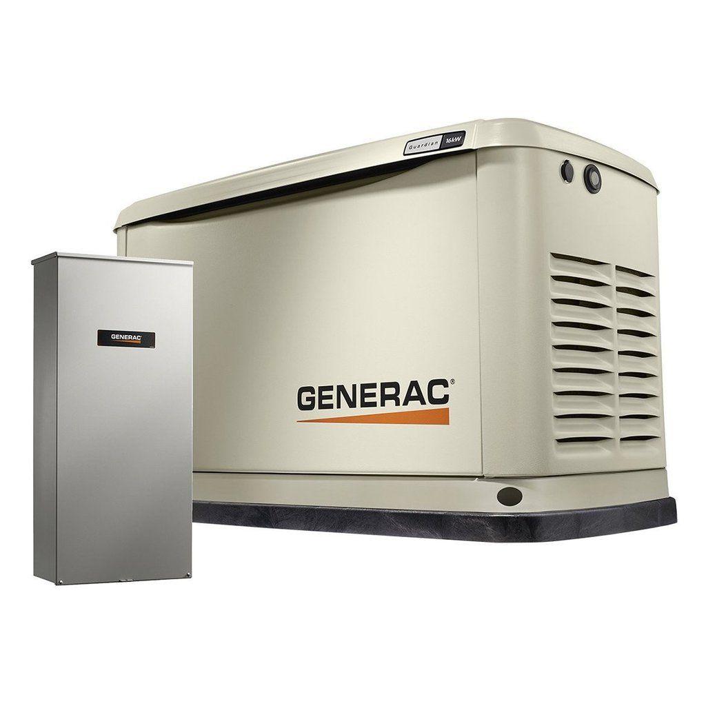 Generac 70361 16 000 Watt Air Cooled Standby Generator W Transfer Switch Standby Generators Transfer Switch Generator House