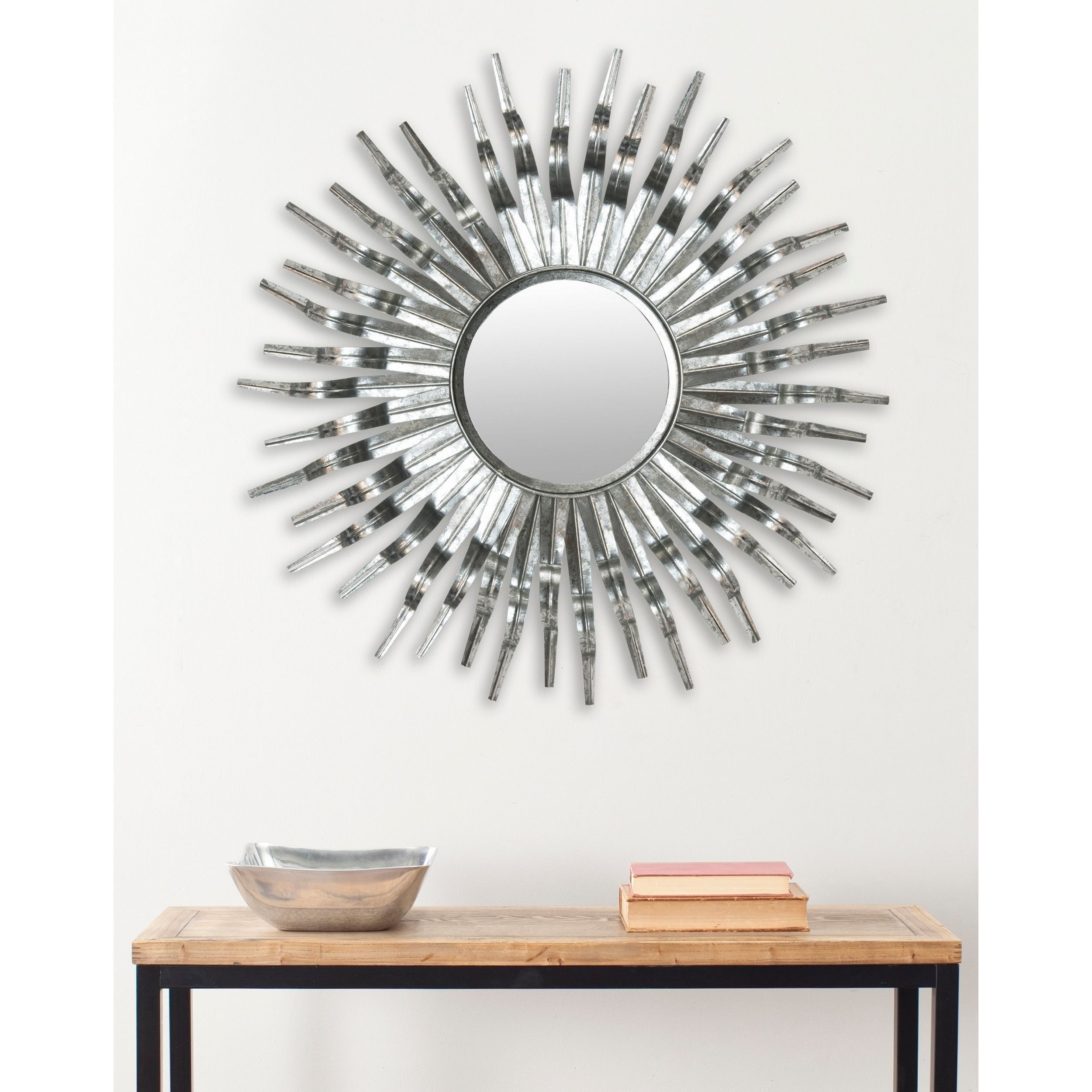 Safavieh Handmade Art Silver Sunburst 36 Inch Decorative Mirror 36 X 36 X 1 5 Framed Mirror Wall Mirror Wall Decor Mirror Wall