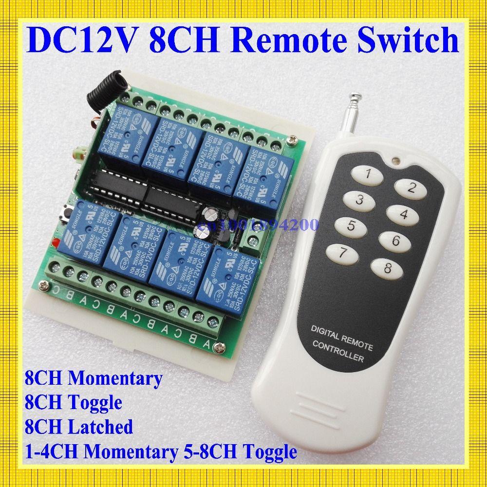 12 V 8 Canais Ch Rf Wireless Switch Controle Remoto Controle Remoto Sistema De Transmissor E Receptor De 315 433 Canais Rel Control System Transmitter Remote