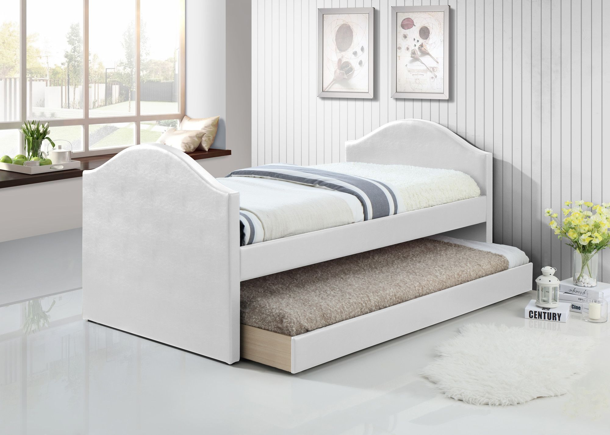 Baxton Studio Daybed With Trundle Upholstered Daybed Daybed