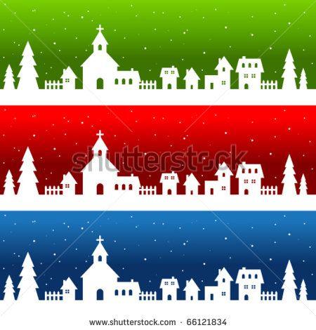 Village Silhouette Stock Photos Images Pictures Casas De Papel Adornos Navidenos Decoracion Navidad