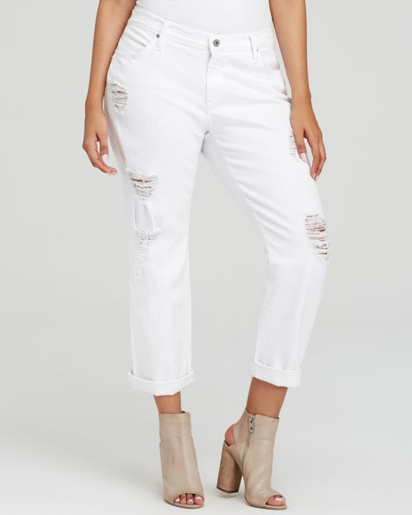 James Jeans Plus Distressed Boyfriend Jeans in Destroyed White