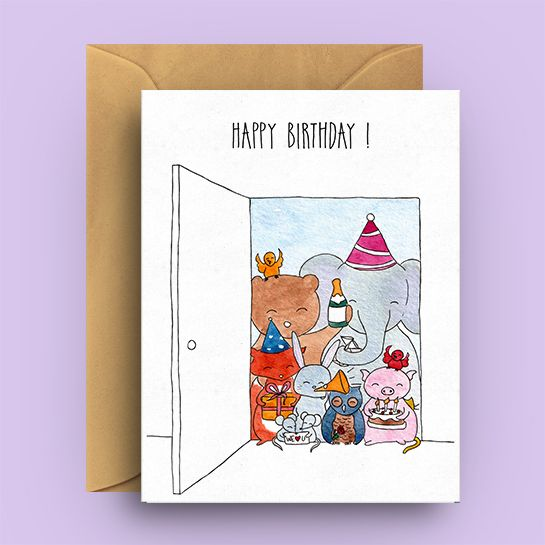 Surprise Birthday Card Greetings Cards The Yellow Cat Studio