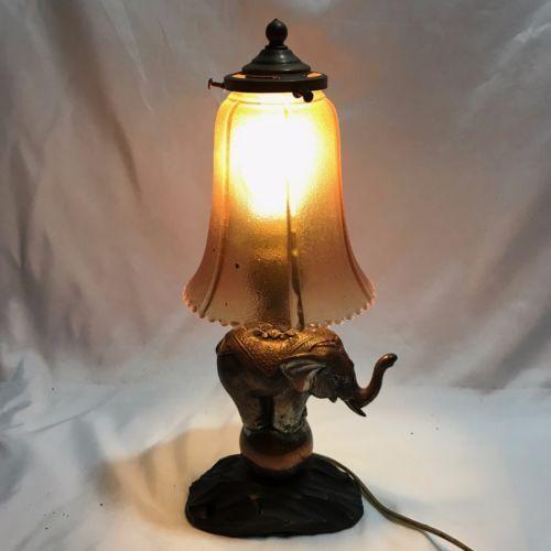 Art Deco Vintage Elephant Table Lamp Light Metal Base Glass Shade Ornate Works Elephant Table Lamp Table Lamp Lighting Lamp