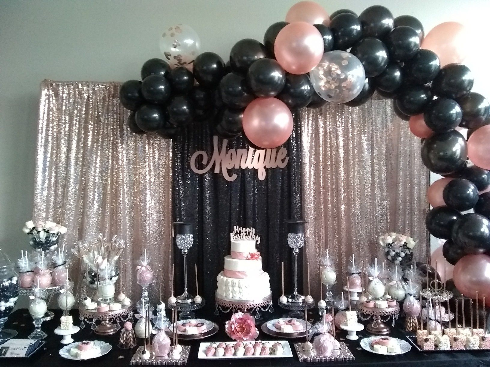 Rose Gold And Black Party Rose Gold Party Decor Gold Birthday Party Decorations Rose Gold Party