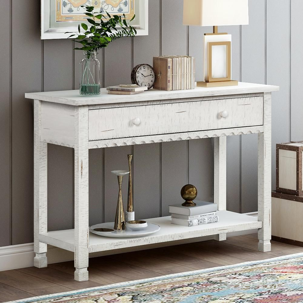 Harper Bright Designs 28 In H Antique White With 1 Drawer And Bottom Shelf Modern Farmhouse Console Table Wf193796aak The Home Depot Farmhouse Console Table Wood Console Table Console Table