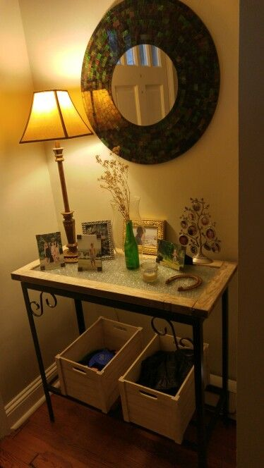 Foyer Table made from an old barn window and a fish tank stand