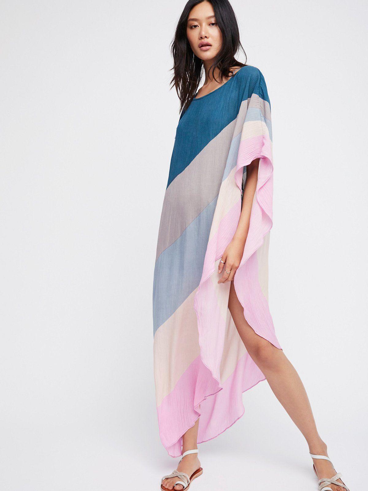 Bra for wedding dress shopping  Neon Rainbow Asymmetrical Kaftan at Free People Clothing Boutique