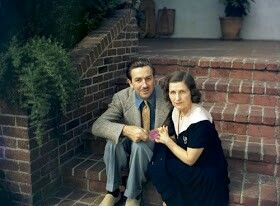 WALT DISNEY AND WIFE AT HIS HOME