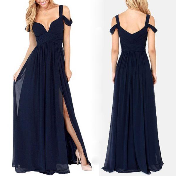 long bridesmaid dress, navy blue bridesmaid dress, popular   Fashion ...