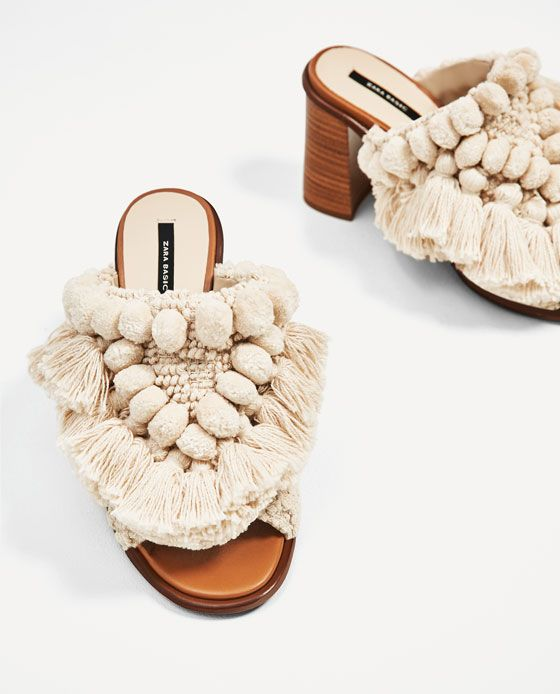 744ada70a84 Image 3 of HIGH HEEL MULES WITH POMPOMS from Zara