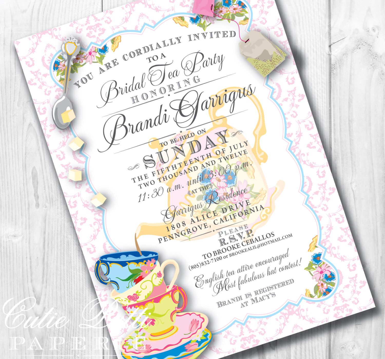 Bridal Tea Party Invitations, Printable Custom Invitations by Cutie ...