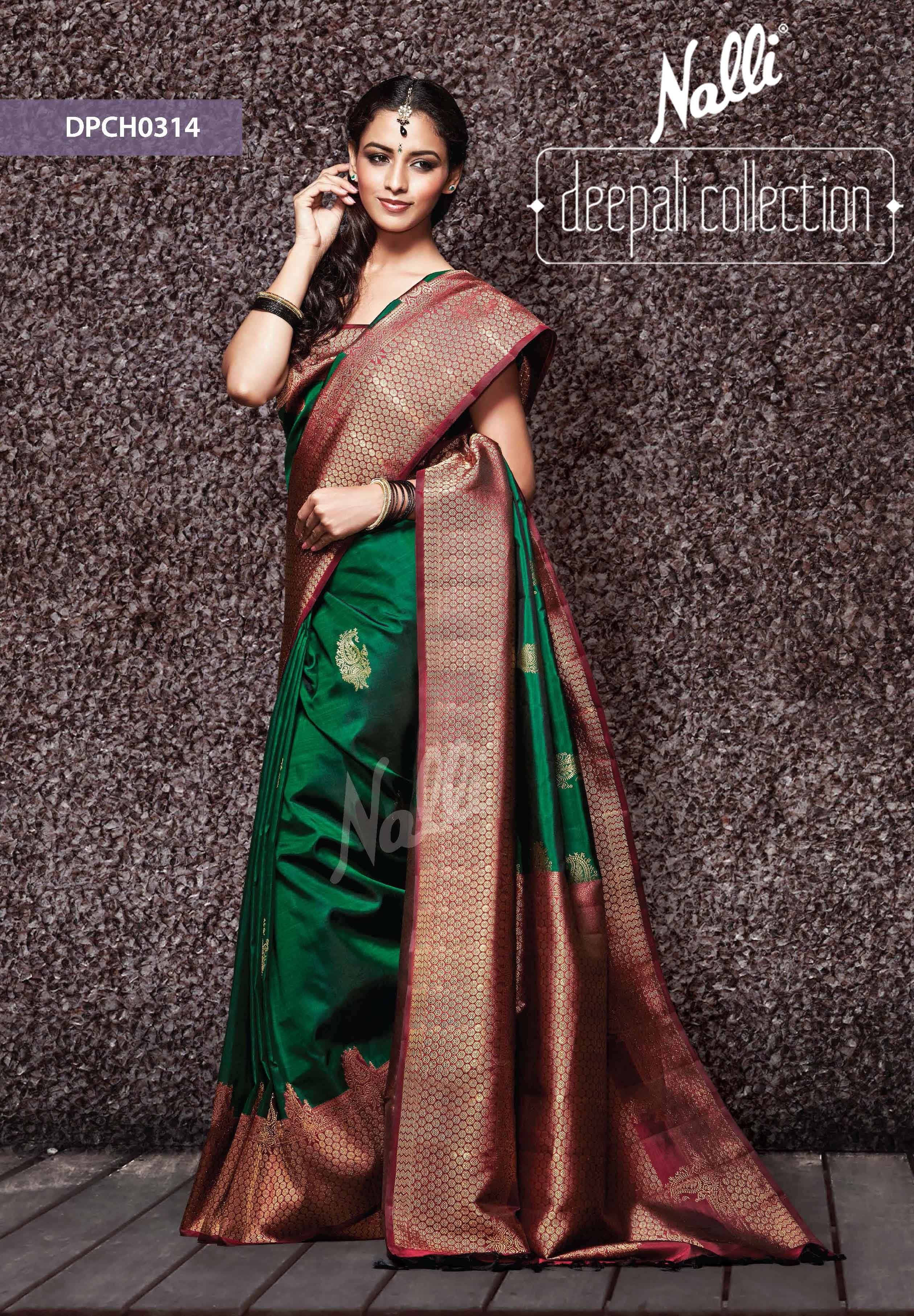 ccc824f9ee stunning, the always in green and maroon, Nalli Kanjivaram Saree ...