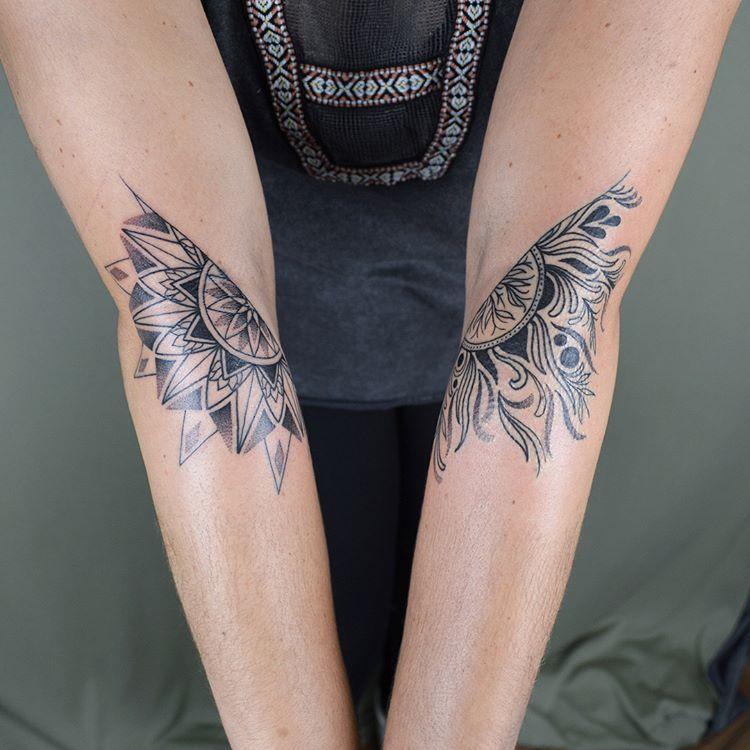 Geometric Tattoos Portland: Two Mandala Halves For Gianna. One Side Represents