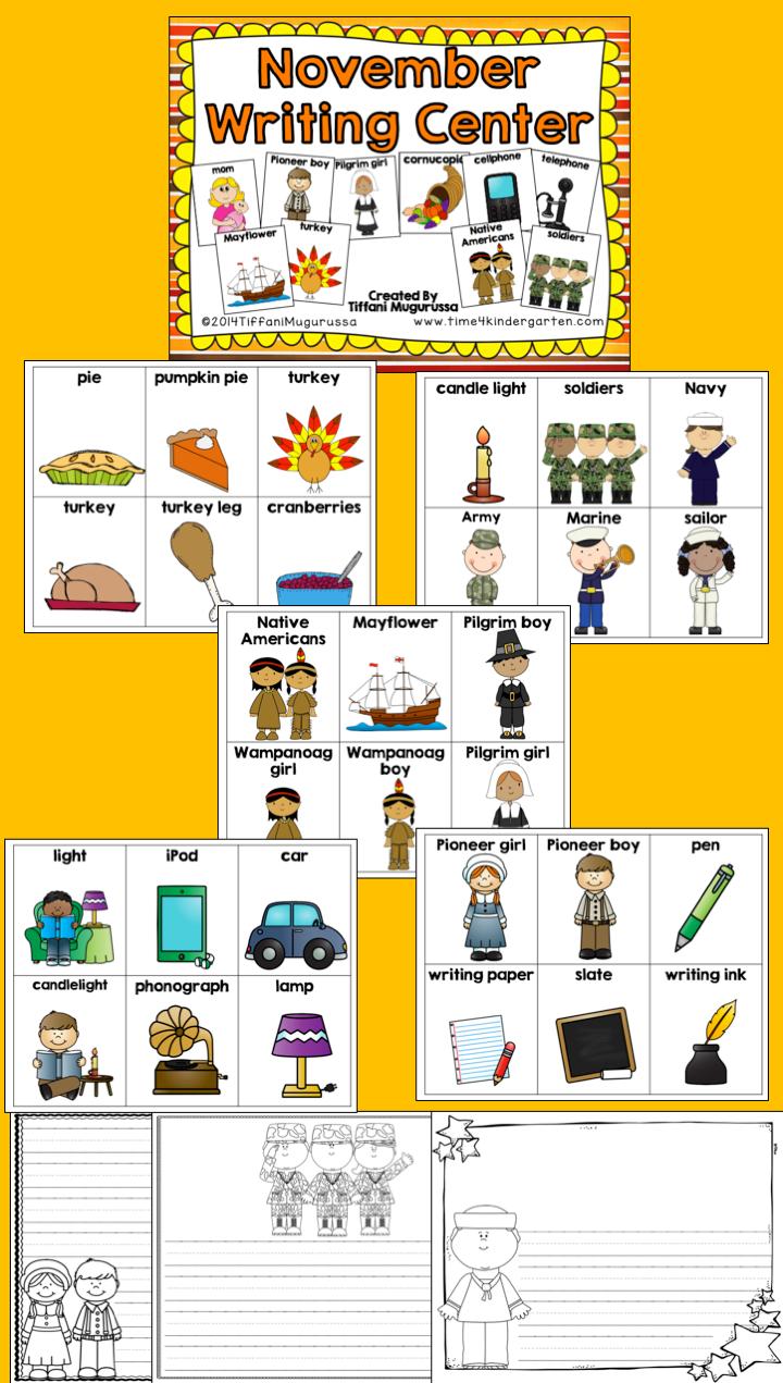November Writing Center for Kindergarten and First Grade | Writing ...