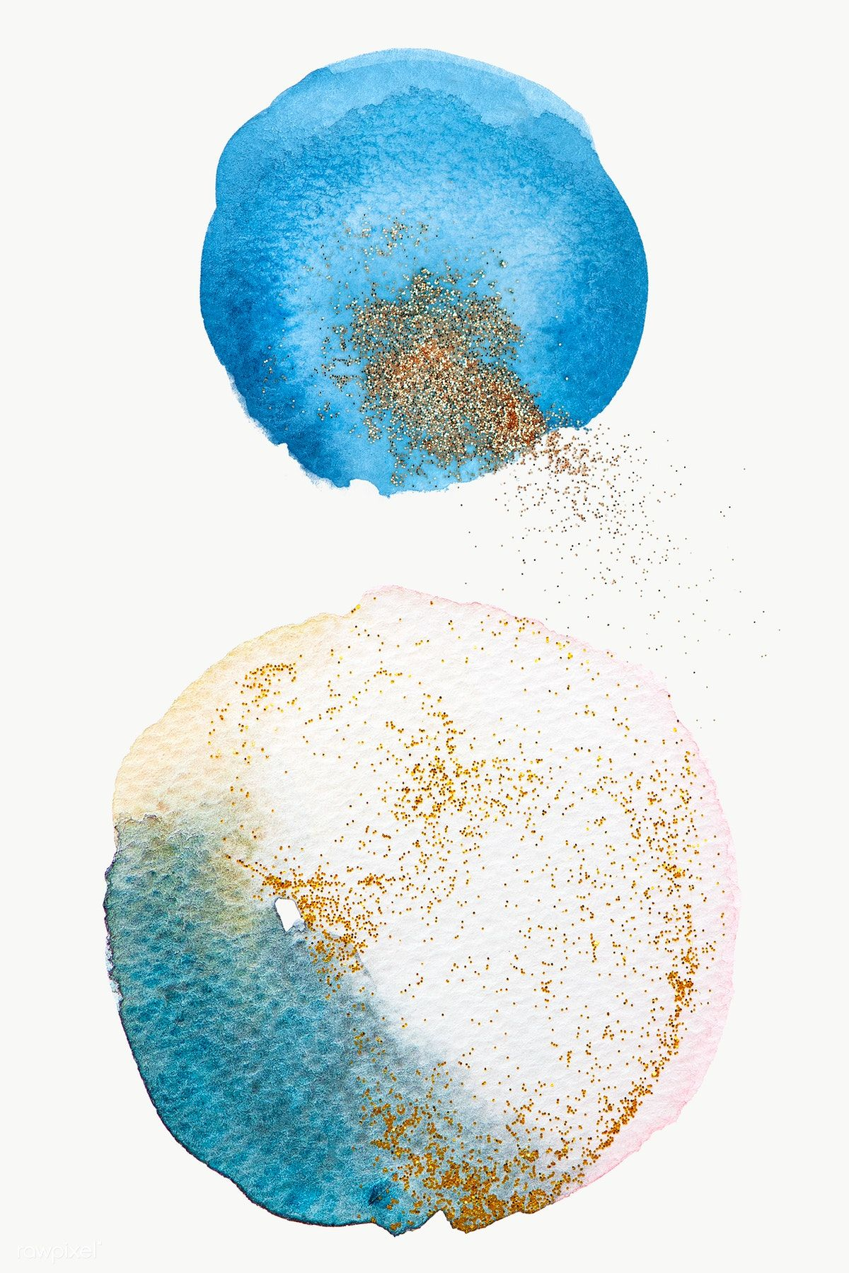 Round Blue Watercolor With Gold Glitter Transparent Png Free Image By Rawpixel Com