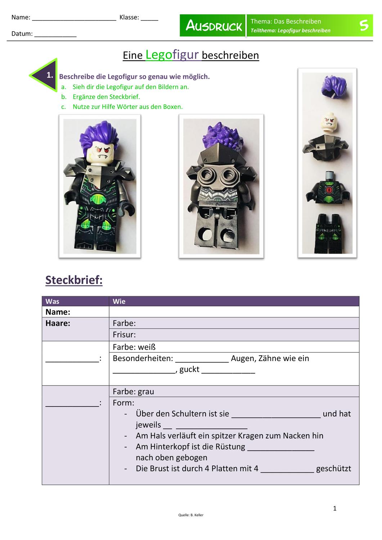 Personenbeschreibung Eine Legofigur Beschreiben Unterrichtsmaterial Im Fach Deutsch Lego Figuren Personenbeschreibung Unterrichtsmaterial