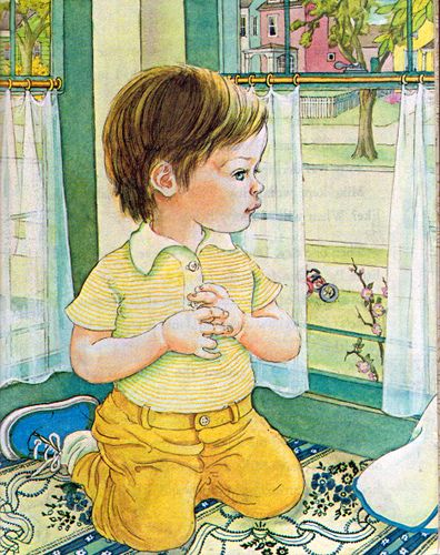 """The New Baby, Eloise Wilkin, 1975 Edition- Window    """"The New Baby"""", Little Golden Books, 1975 Version (with  updated illustrations)By Ruth & Harold ShaneIllustrations by Eloise WilkinWaiting for the baby"""