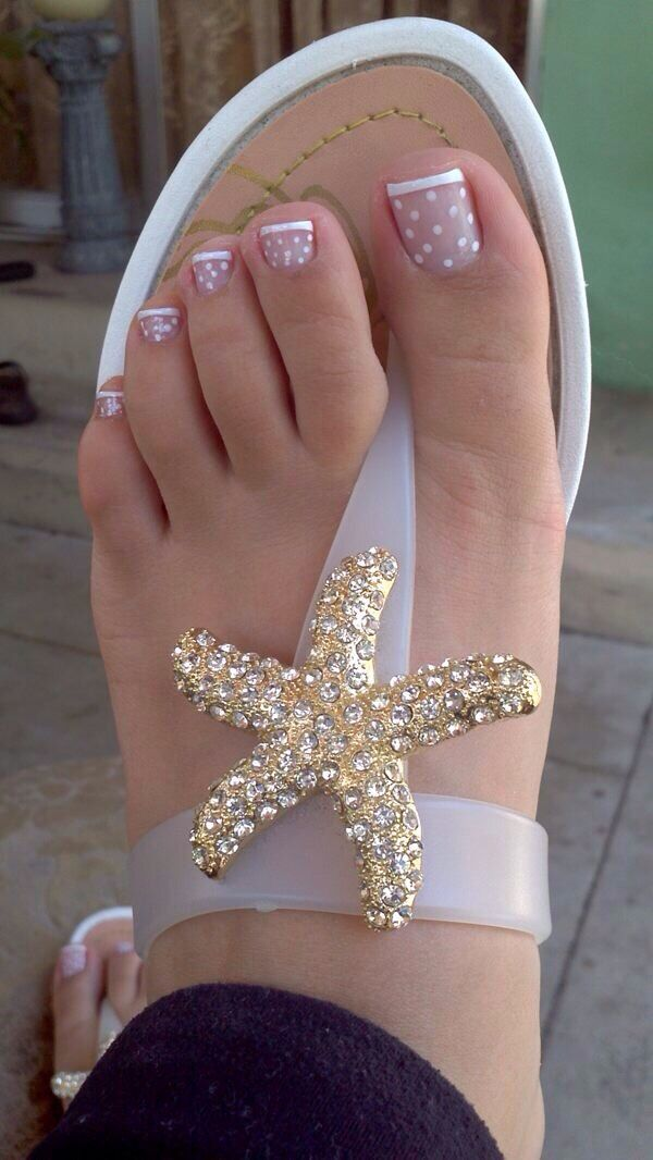 White French Tip Polka Dot Pedi Nails Nail Art Okay The Sandals Are Adorable Too