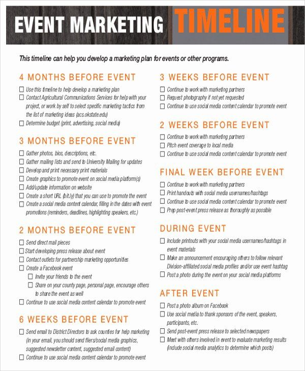 Event Marketing Plan Template Awesome 42 Free Timeline