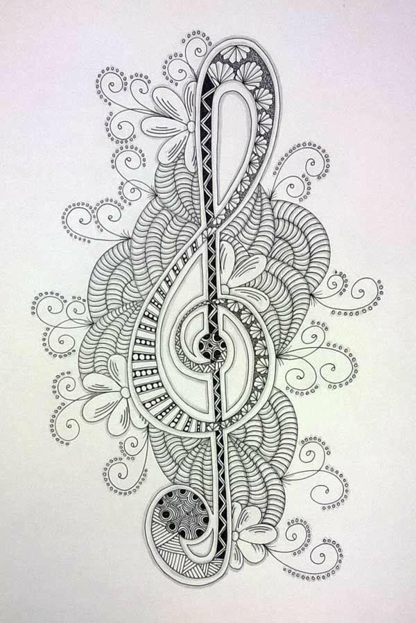 Clave de sol | Mandalas y zentangles | Pinterest