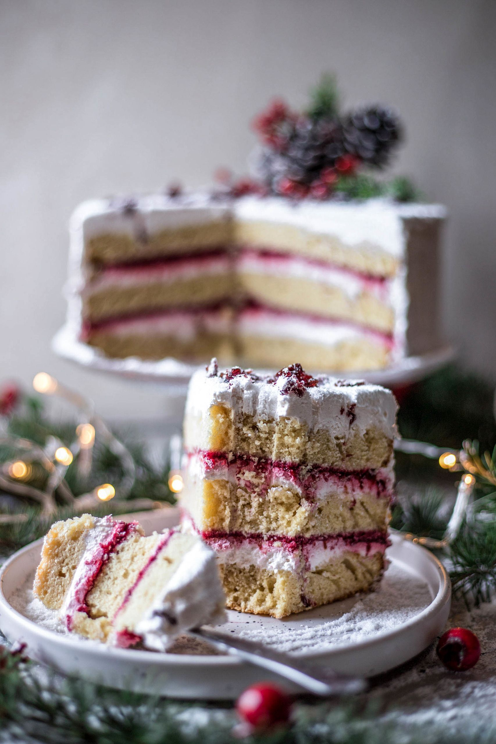 Glutenfree cranberry cake with cream cheese frosting