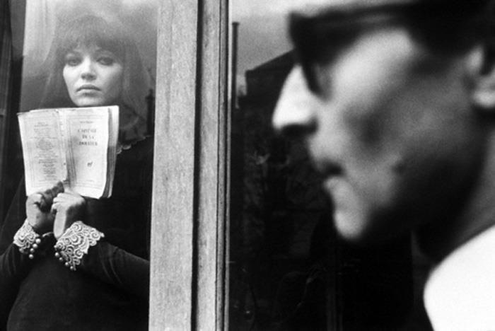 Anna Karina and Jean-Luc Godard on the set of Alphaville, 1965