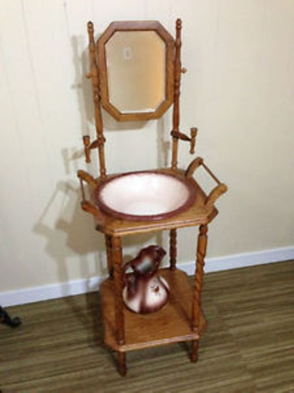 Wash Bowl Stand For Bowl And Pitcher Reproduction Oak Wood
