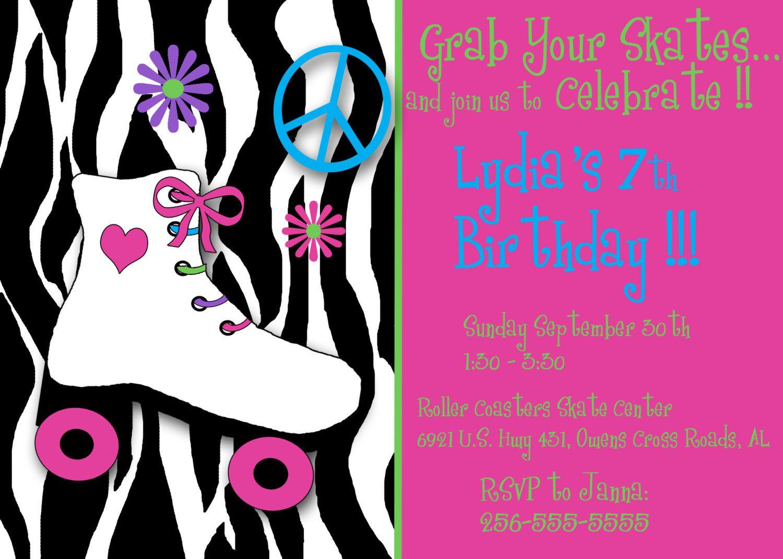 Roller skate invitation. $5.00, via Etsy.   Girls birthday party ...