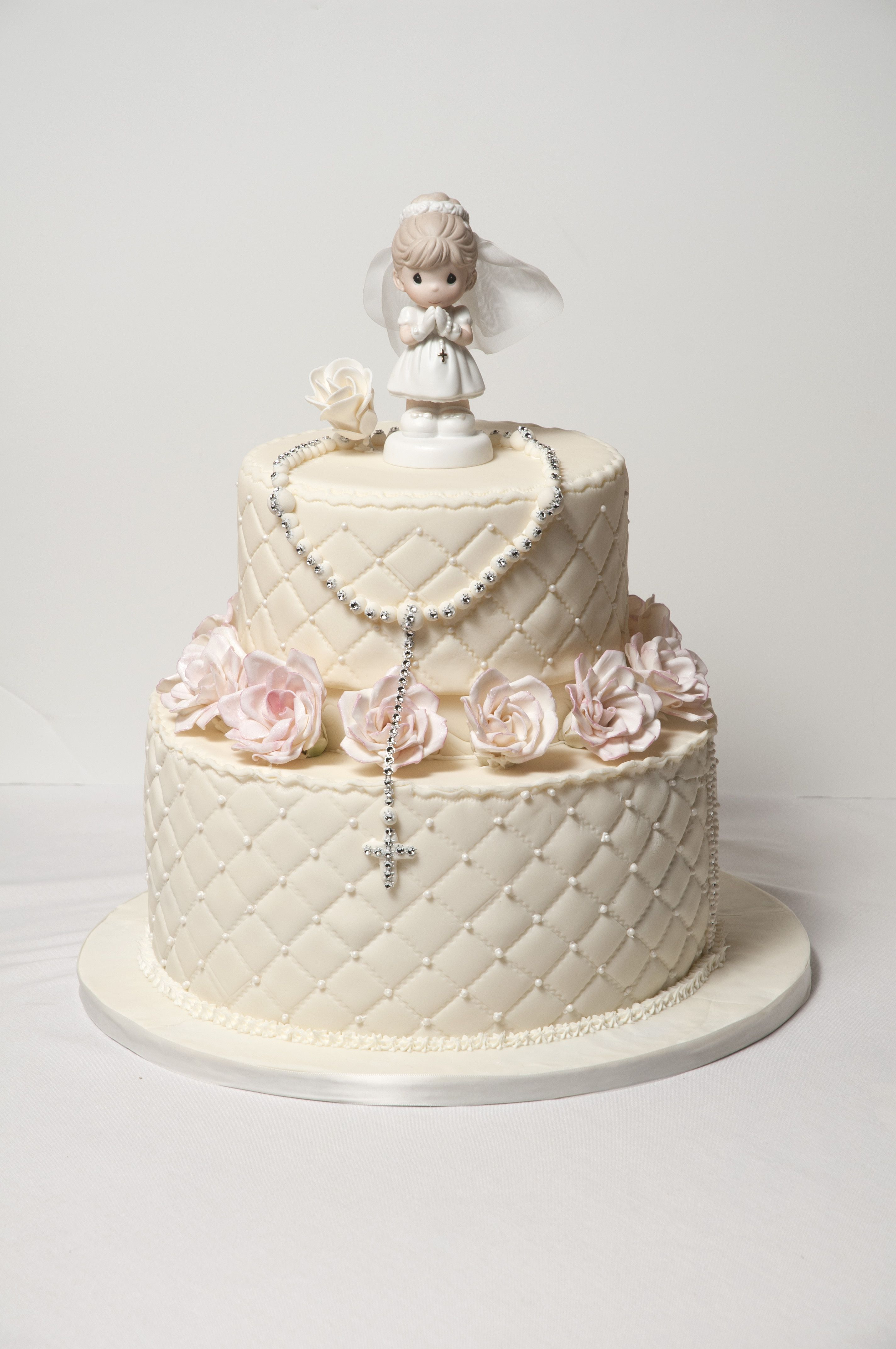 First communion cake love it but would omit the rosary 1st holy communion dresses - Holy communion cake decorations ...