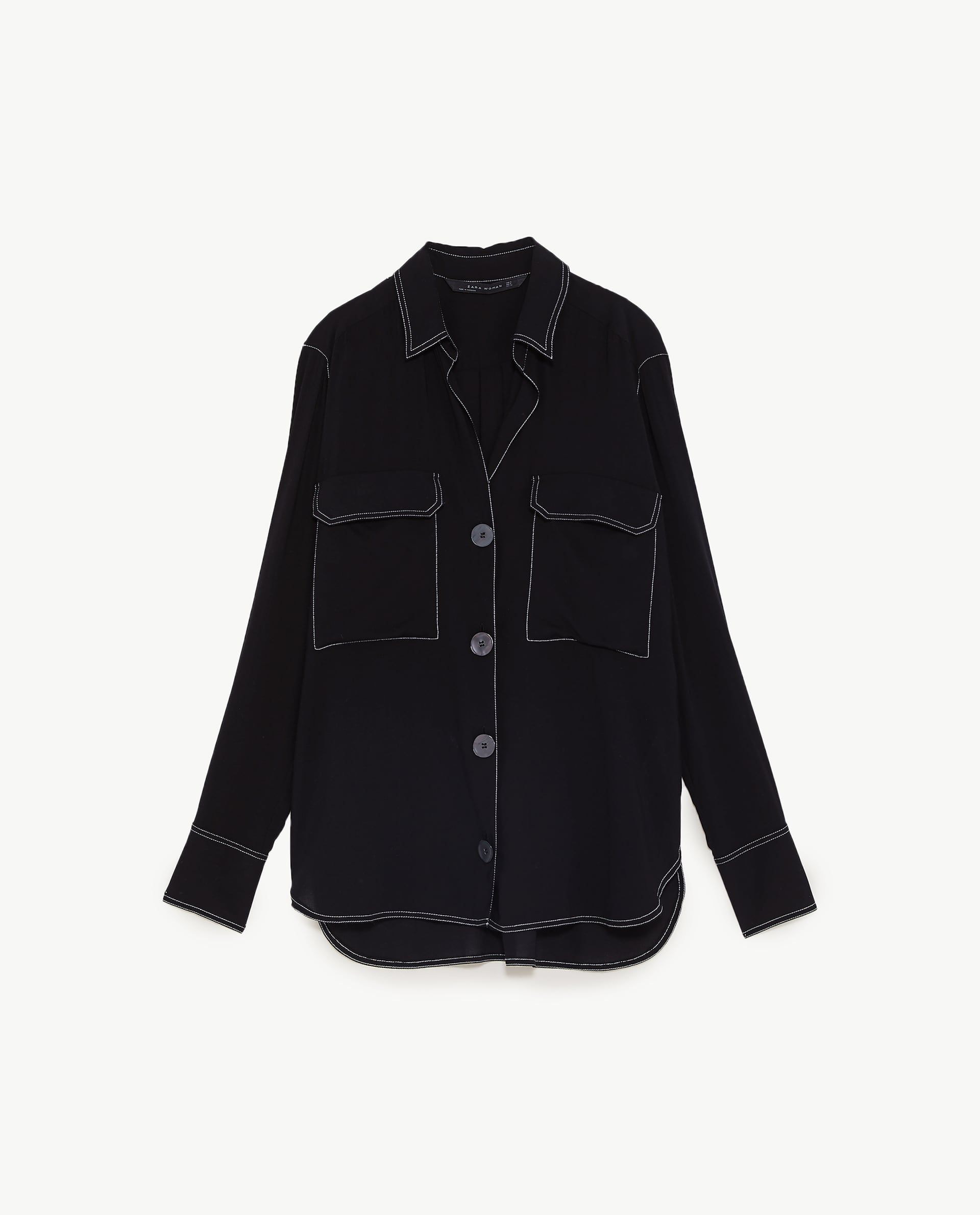 25afd93cfe Image 8 of CONTRASTING TOPSTITCHING SHIRT from Zara | Soft Gamine ...