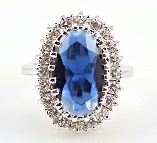 Romantic Heart Rings for Women 925 Silver Jewelry Blue Sapphire Ring Size 6-10