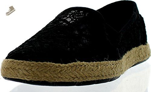d6ac1855e4825 BOBS from Skechers Women's Flexpadrille Lace Flat, Black, 6 M US ...