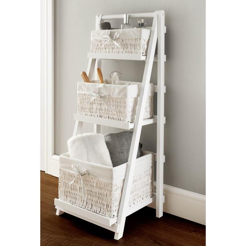 Juliet 3 Drawer Ladder Shelf Wicker Basket Style White Bathroom