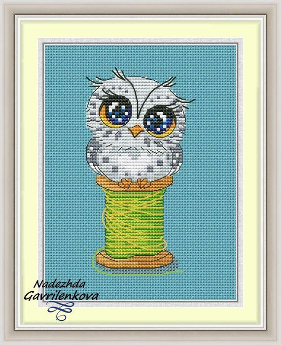 Photo of Owlet. Cross Stitch Pattern. Cross Stitch Design. Digital. PDF. Modern cross stitch pattern. Embroidery room wall decor.