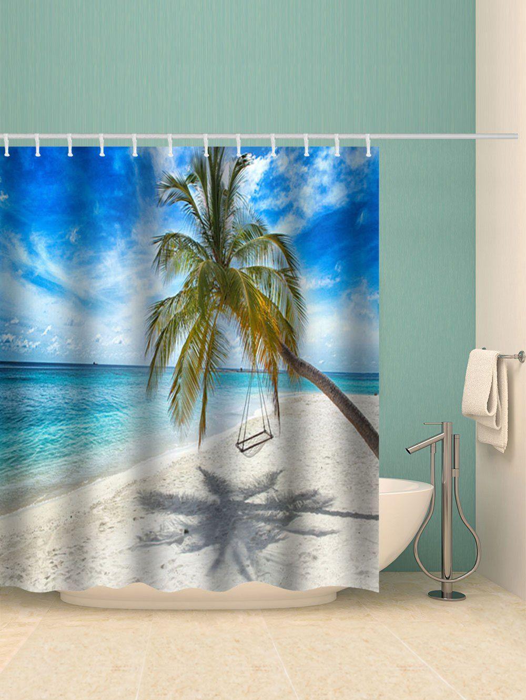 Beach Palm Tree Print Waterproof Bath Curtain Ad Affiliate